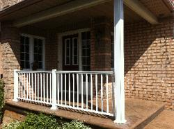 white aluminum railing with 5 inch column.