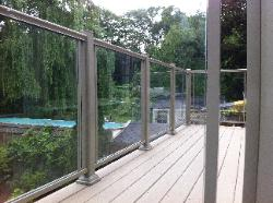 Clay aluminum and glass railing