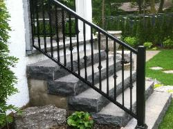 Black railing with collars