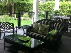 black aluminum and glass railing