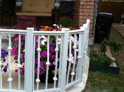 white railing with collars